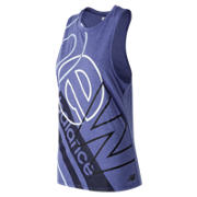 New Balance Relentless Graphic Tank, UV Blue Print