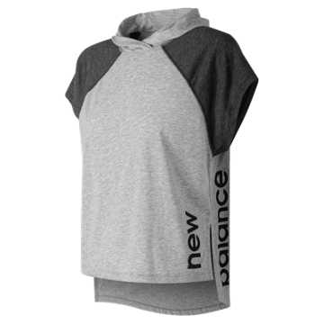 New Balance Heather Tech Train Crop Hoodie, Athletic Grey