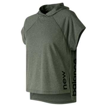 New Balance Heather Tech Train Crop Hoodie, Faded Rosin