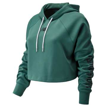 New Balance Womens Day Energize Crop Hoodie, Dark Agave