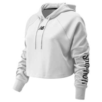 New Balance Womens Day Energize Crop Hoodie, Munsell White
