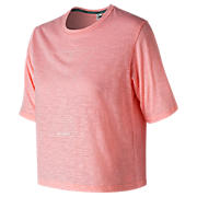 New Balance Well Being Cropped Tee, Guava Glo