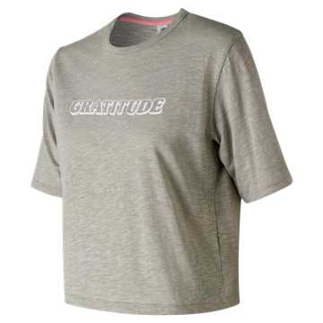 New Balance Well Being Cropped Tee, Stone Grey