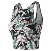 New Balance Printed Evolve Crop Tank, Black Multi