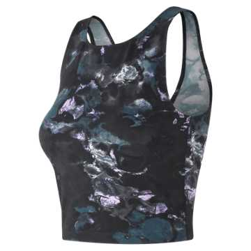 New Balance Printed Evolve Crop Tank, Violet Glo Print with Black