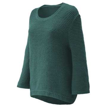 New Balance Studio Open Stitch Sweater, Dark Agave