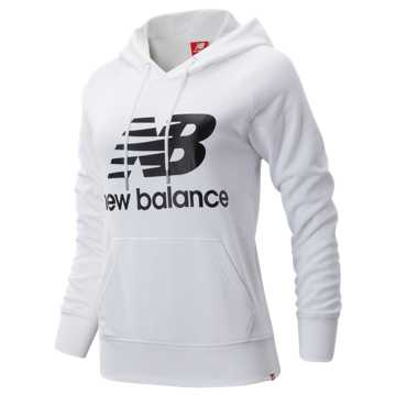 New Balance Essentials Pullover Hoodie, White with Black