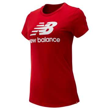 New Balance Essentials Stacked Logo Tee, Team Red