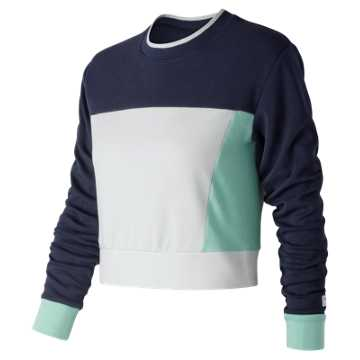 New Balance NB Athletics Long Sleeve Crop, Pigment with Light Reef & White