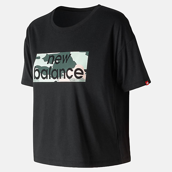 New Balance T-shirt carré camo turquoise Essentials, WT91583BK