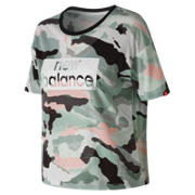 New Balance Essentials Aqua Camo Boxy Tee, Mineral Green