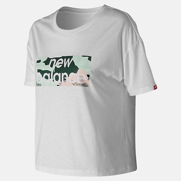 New Balance T-shirt carré camo turquoise Essentials, WT91583WT