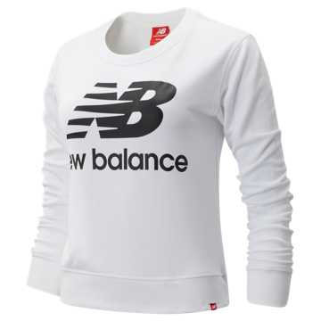 New Balance Essentials Crew, White with Black