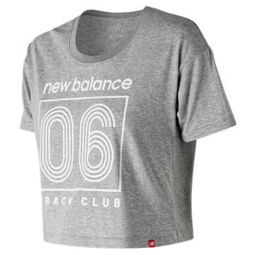 New Balance Essentials Track Club Cropped Tee, Athletic Grey