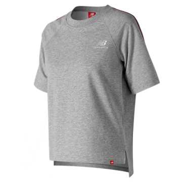 New Balance Essentials Pinstripe Short Sleeve Crew, Athletic Grey