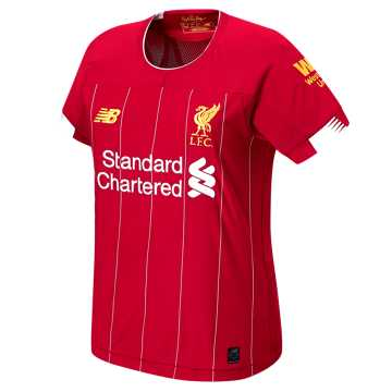 New Balance Liverpool FC Home Womens SS Jersey, Red Pepper with White & Gold