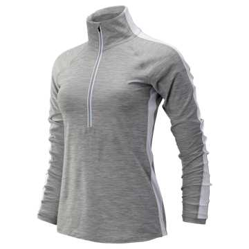 New Balance Transform Half Zip, Athletic Grey with White