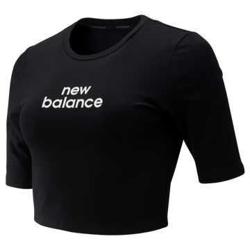 New Balance Relentless Crop Tee, Black