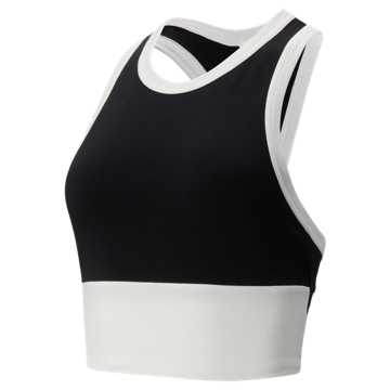 New Balance Relentless Blocked Crop Bra, Black with White
