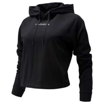 New Balance Relentless Crop Hoodie, Black