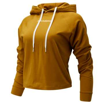 New Balance Relentless Crop Hoodie, Gold Moss