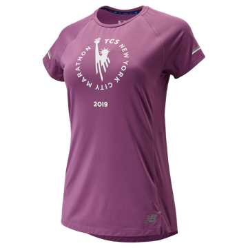New Balance NYC Marathon NB ICE 2.0 Short Sleeve, Kite Purple
