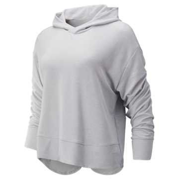 New Balance Evolve Twist Back Hoodie, Sea Salt Heather