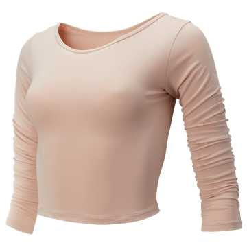 New Balance Balance Long Sleeve Crop, White Oak