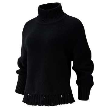 New Balance Balance Fringe Sweater, Black