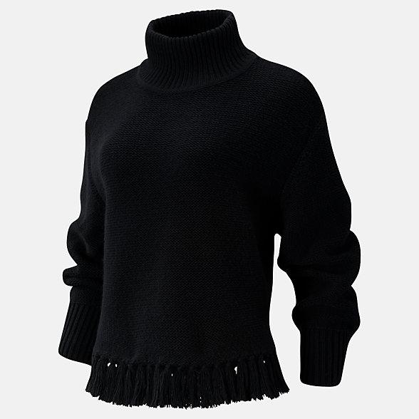 New Balance Balance Fringe Sweater, WT93471BK