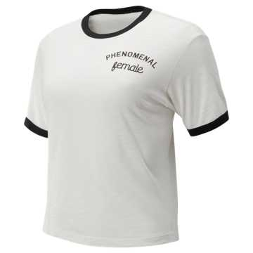 New Balance Evolve Cropped Tee, White with Black