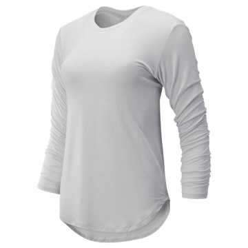 New Balance Evolve Twist Back Long Sleeve, Sea Salt Heather