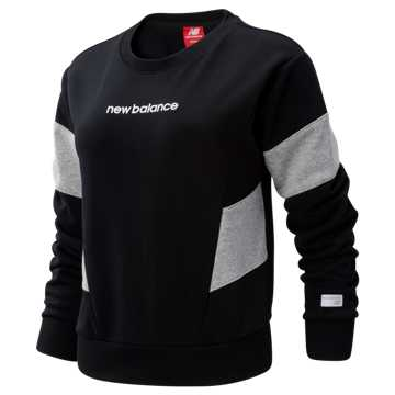 New Balance NB Athletics Classic Fleece Top, Black with Athletic Grey