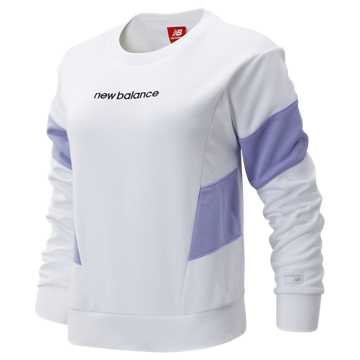 New Balance NB Athletics Classic Fleece Top, White with Clear Amethyst