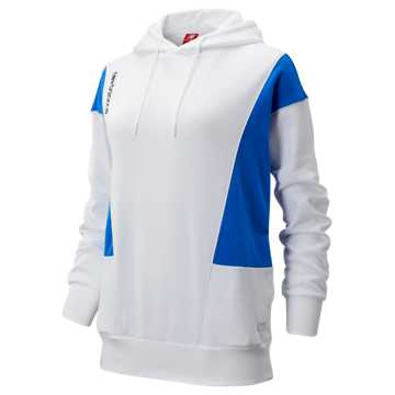 New Balance NB Athletics Classic Hoodie, White with Vivid Cobalt
