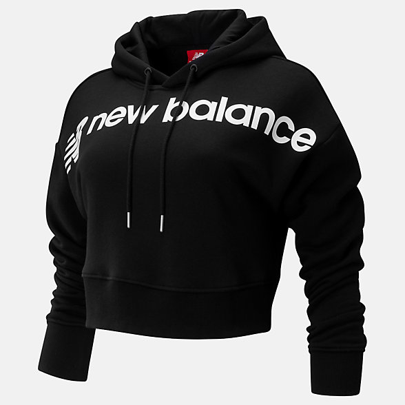 New Balance Sport Style Optiks Cropped Hoodie, WT93510BK
