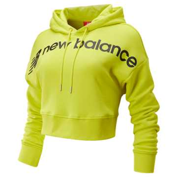 New Balance Sport Style Optiks Cropped Hoodie, Sulphur Yellow