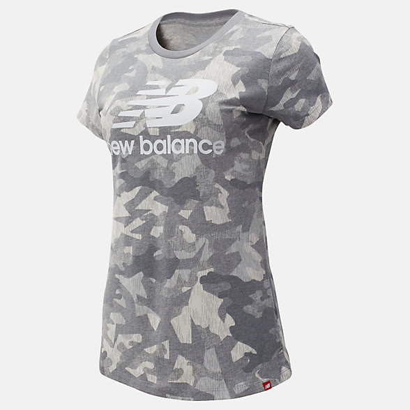 New Balance Printed Essentials Stacked Logo Tee, WT93555SEL