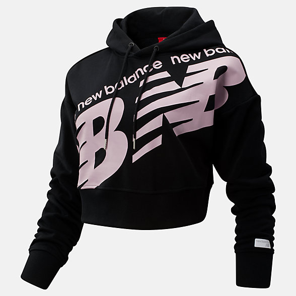 New Balance NB Athletics Cropped Hoodie, WT93572BK