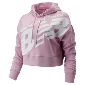 New Balance NB Athletics Cropped Hoodie, Oxygen Pink