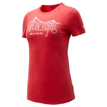 New Balance NYC Marathon New York Bridge Tee, Team Red