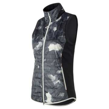 New Balance NB Heat Hybrid Vest, Sea Salt Glacial Print with Black