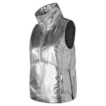 New Balance Shine NB Radiant Heat Half Zip Vest, Silver
