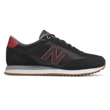 New Balance 501, Black with Earth Red