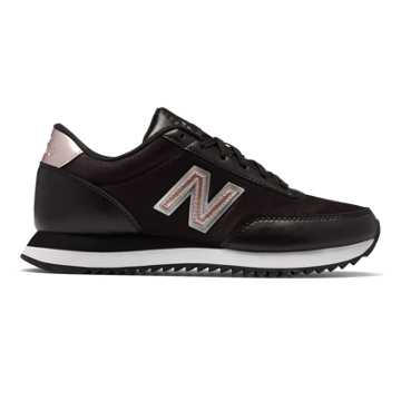 New Balance 501 Ripple Sole, Black with Champagne Metallic