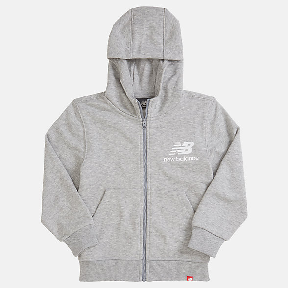 NB Youth Essentials Full Zip Hoodie, YJ93500AG