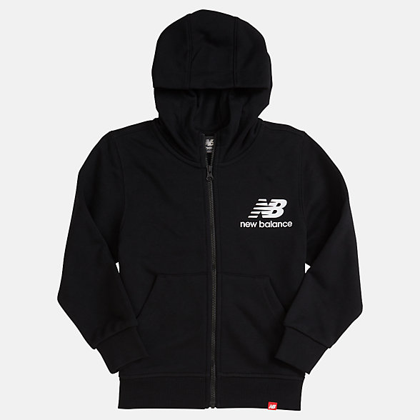 New Balance Youth Essentials Full Zip Hoodie, YJ93500BK
