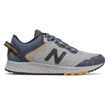 New Balance Fresh Foam Arishi Trail, Light Aluminum with Stone Blue & Atomic Yellow