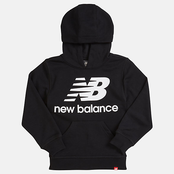 NB Youth Essentials Stacked Po Hoodie, YT93500BK