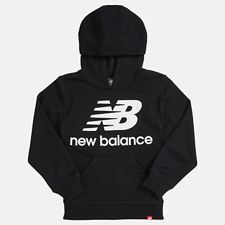 NB Youth Essentials Stacked Po Hoodie, YT93500BK image number null